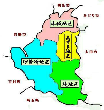 地区別地図伊勢崎地区文化財所在地図